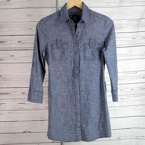 Anthropologie Fei blue gray chambray shirt dress